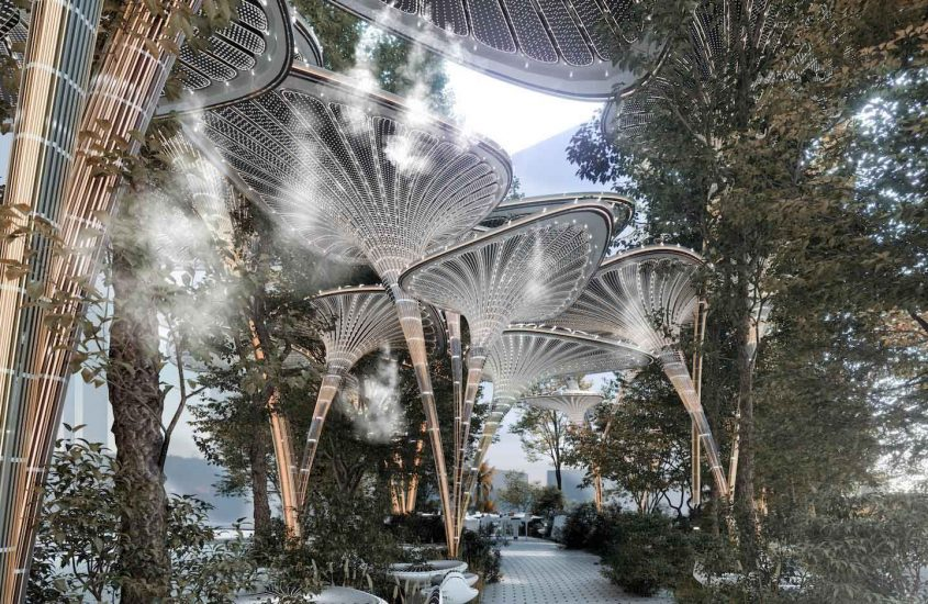 Mask Architect Designs Artificial Palm Oasys In  Abu Dhabi